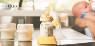 Сцеженное грудное молоко в бутылочках на столе