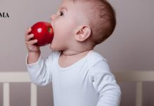 маленький мальчик кушает яблоко